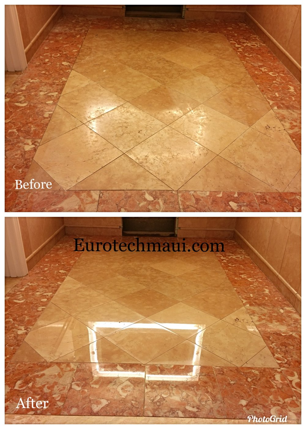light reflection in after polish on marble flooring in a large resort