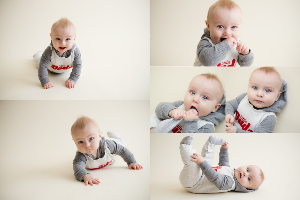 Photos of a baby boy laying on stomach and back during photo session in Cedar Rapids, Iowa using natural light.