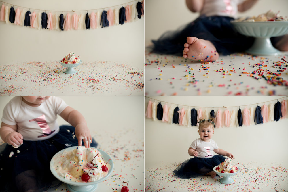 One year old baby girl sitting on the floor during a one year old sundae smash photo session in Cedar Rapids, Iowa.