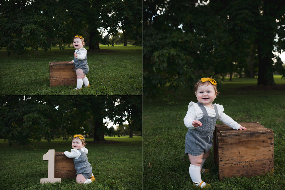 One year old girl standing by a wooden box during a children photo session in Cedar Rapids, Iowa.