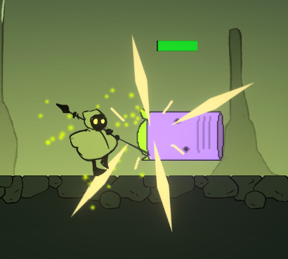 Smack hit an enemy - The player is Yellow until the effect wears off (or they input an attack, triggering a Super).
