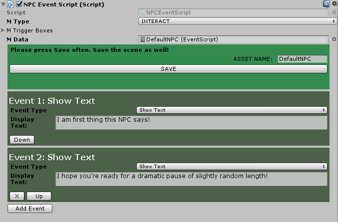 Screenshot of the Event Script Component featuring 2 events