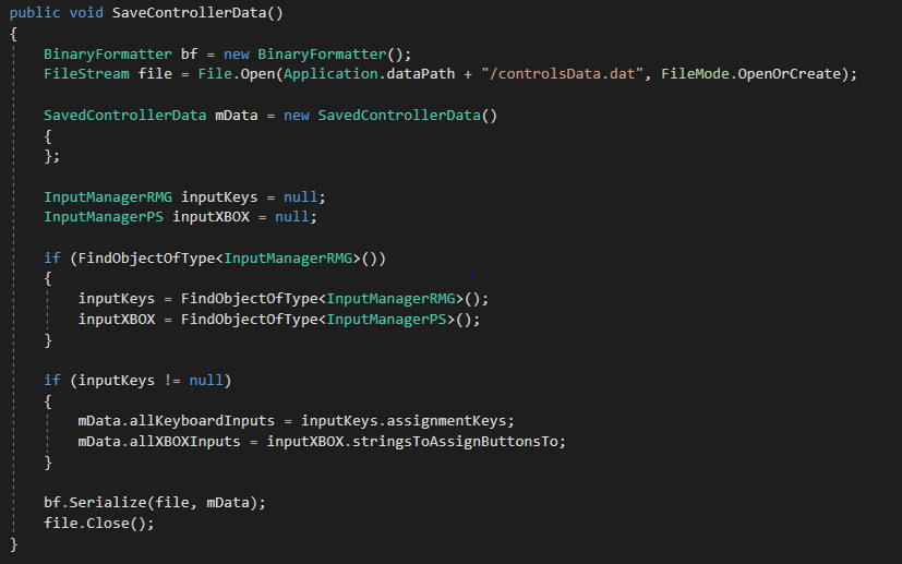 Saving Controller Data with my two InputManager classes - Differentiated by the letters at the end (PS vs RMG)