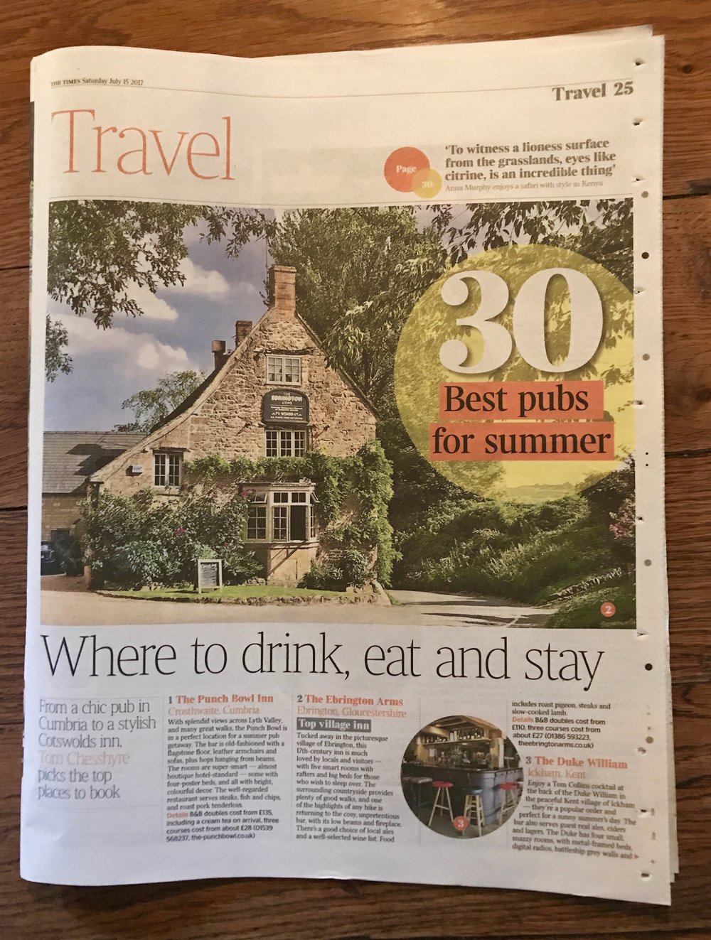 We are The Times' UK No 1 Village Inn