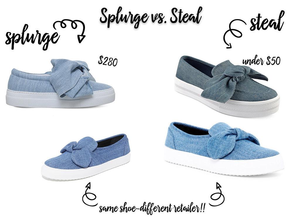 Splurge Vs Steal Bow Sneakers