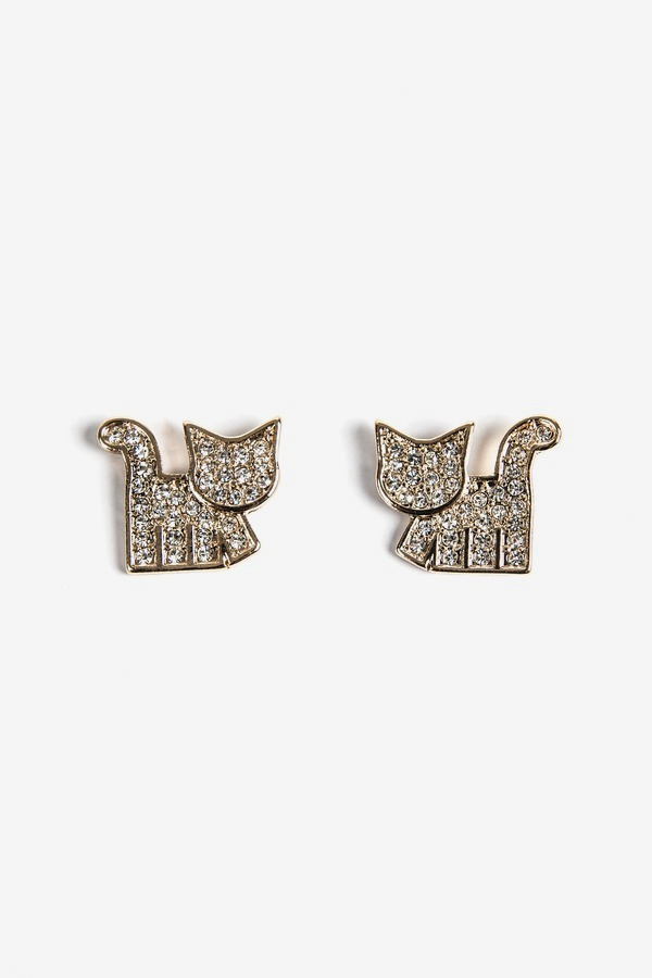 Betsey Johnson Large Cat Studs