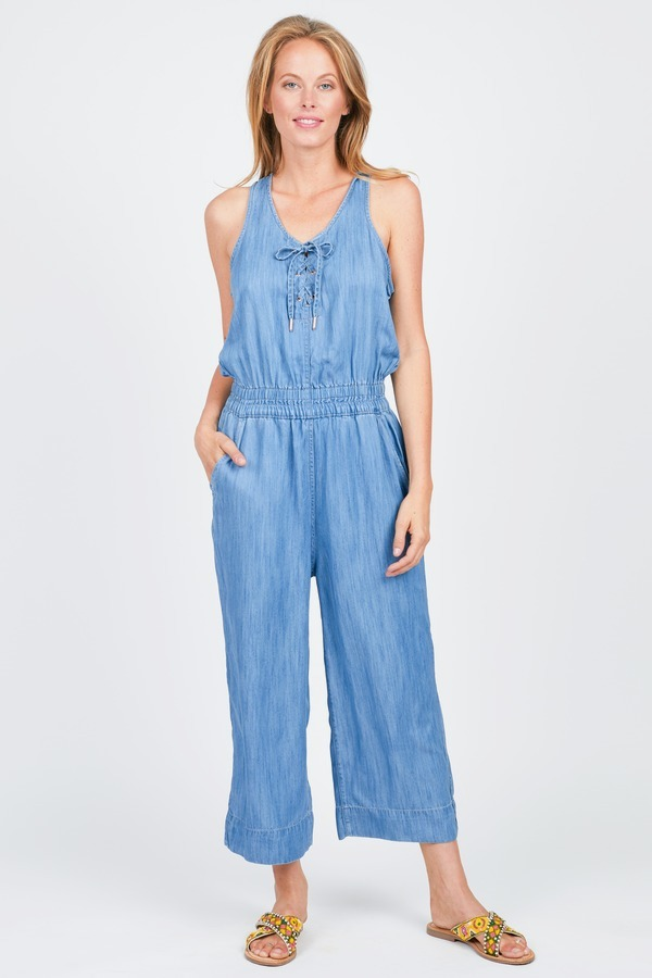CALVIN KLEIN JEANS Lace Up Cropped Jumpsuit