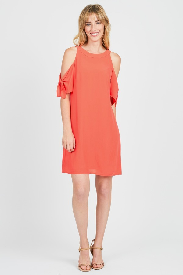 LONDON TIMES Tie Sleeve Shift Dress