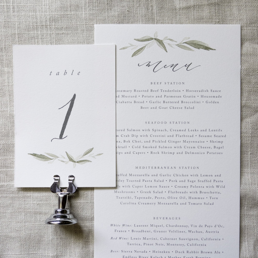 Linen & Leaf Calligraphy watercolor leaves