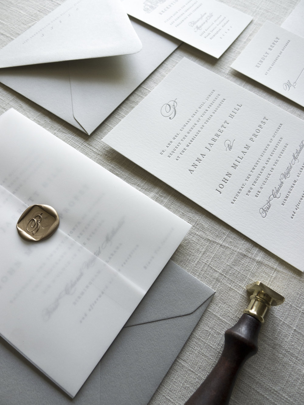 Linen & Leaf Wax Seal vellum invitation suite