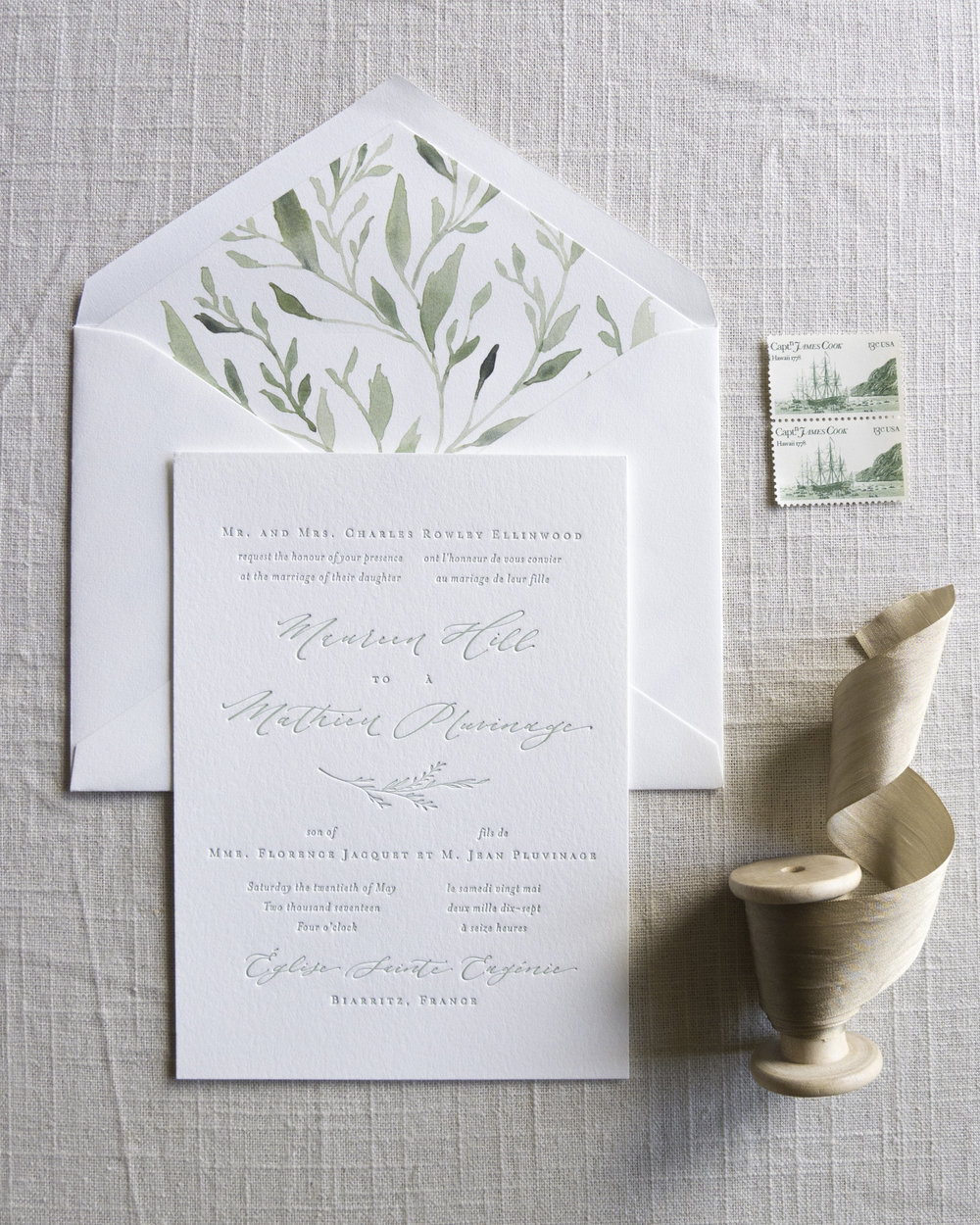 Linen & Leaf Greenery Envelope Liner Letterpress Suite