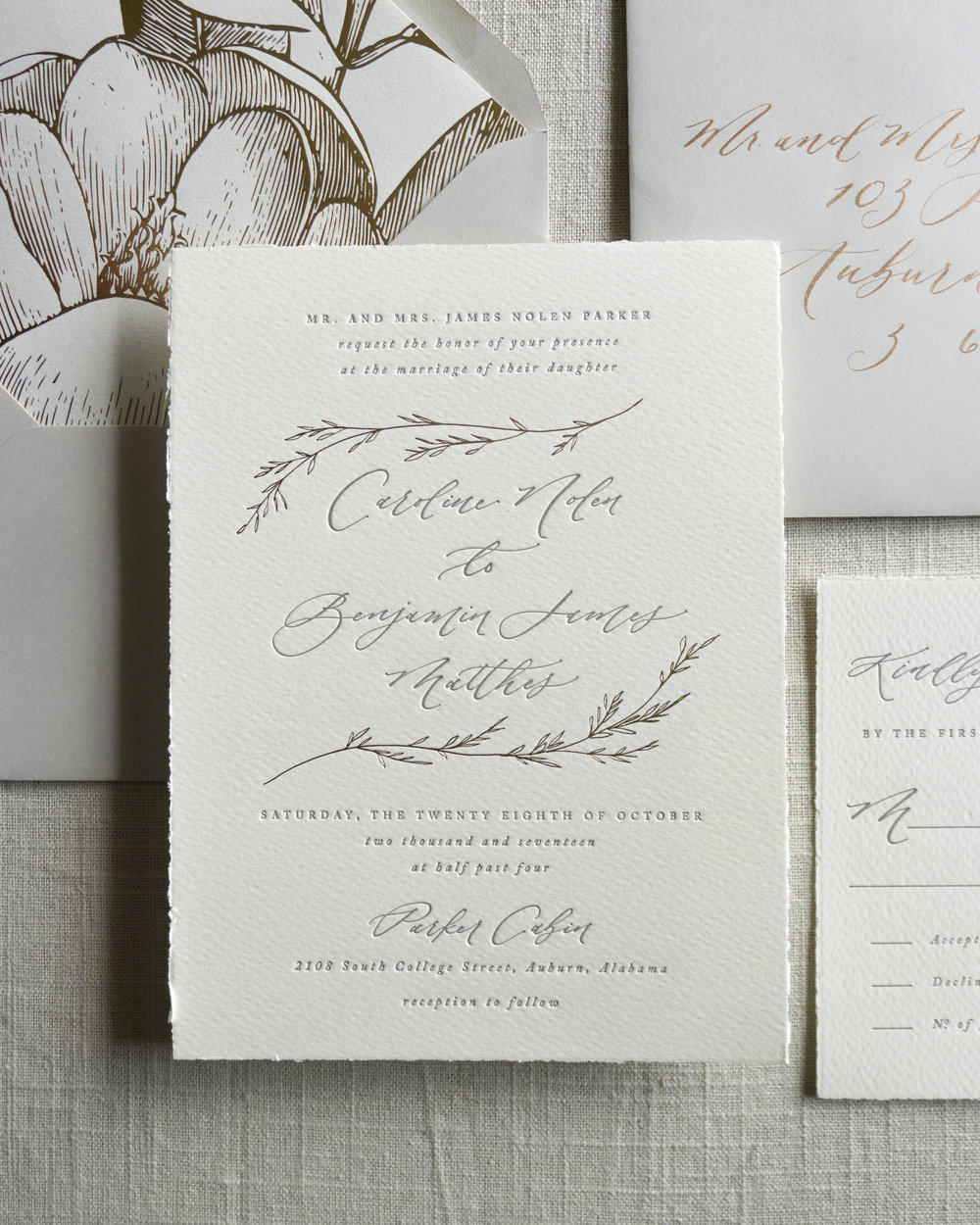 Linen & Leaf Letterpress Rose Gold Foil Suite