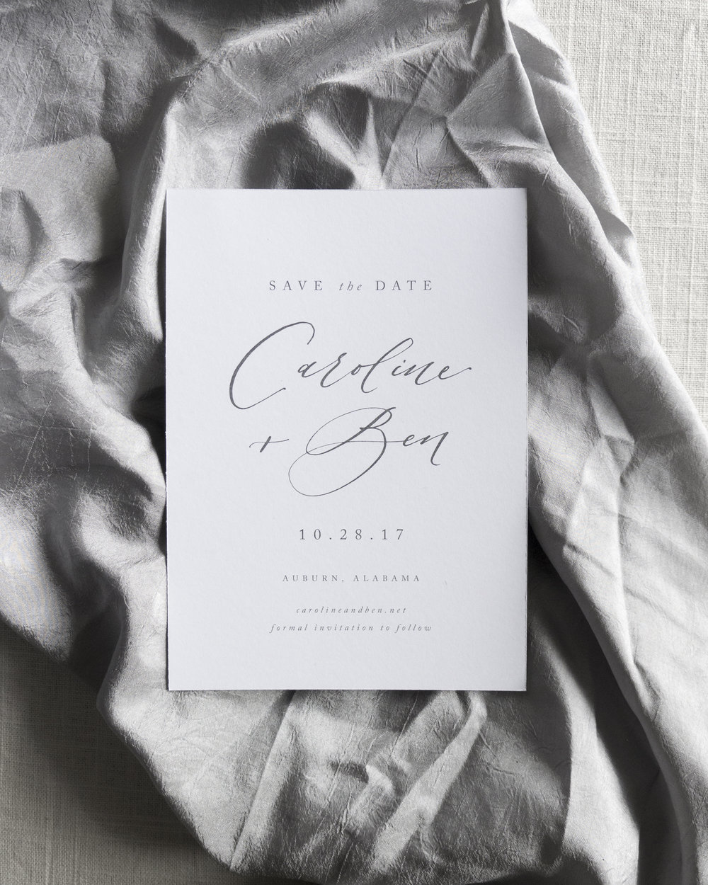 Linen & Leaf Calligraphy Save the Date