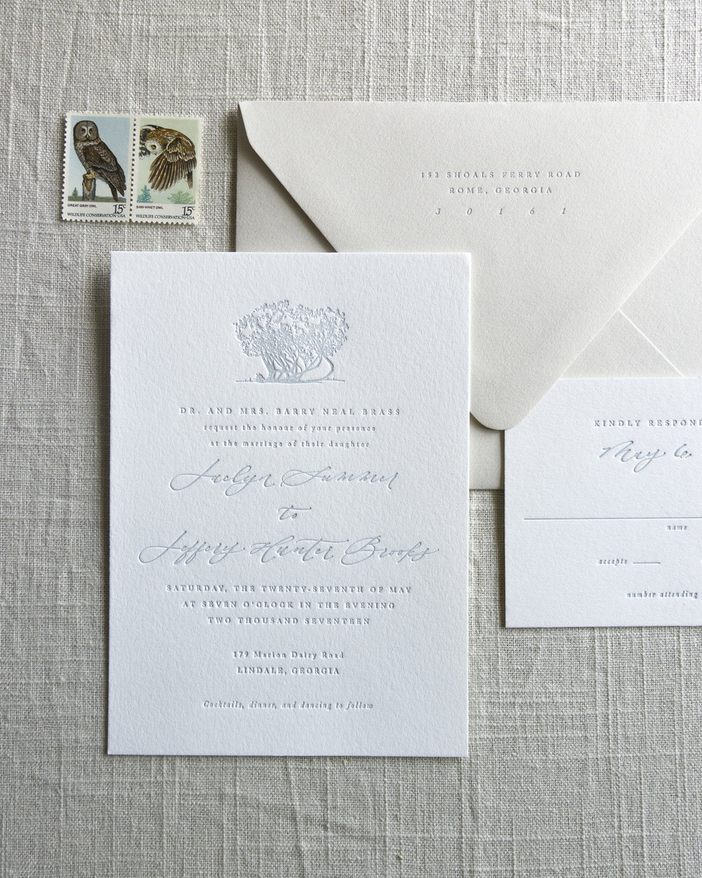 Linen & Leaf Letterpress Invitation