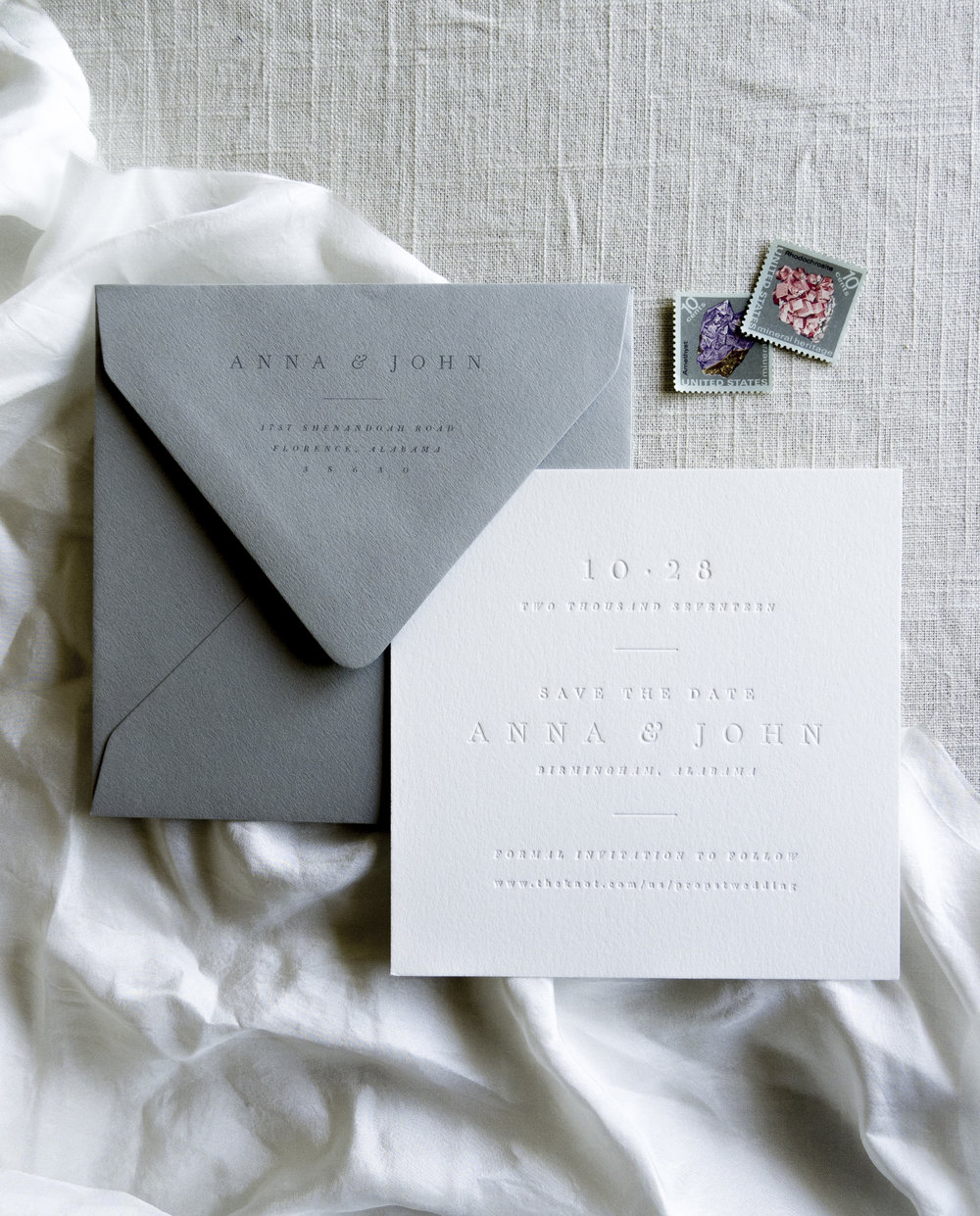 Linen & Leaf Blind Deboss Save the Date