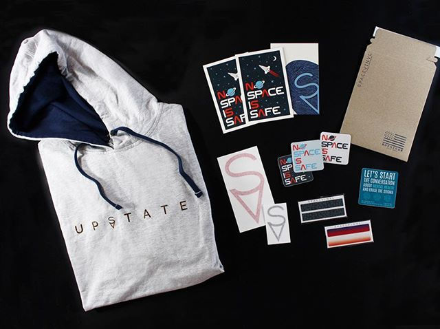 "Hey HWS students— See how you could win this box of goods 🔥 (Our favorite is the UpState hoodie tee) - We are happy to donate a box of SV swag to the Beautiful Minds Club for their annual ""Out of the Darkness Walk"" to benefit the American Foundation for Suicide Prevention.  The walk is Sunday, April 22nd, followed by a raffle with tons of local businesses merch including this pack of SV goodies.  Rep Upstate AND support a good cause. Win win! DM for more info. - #upstate #ny #spacevinyl #nospaceissafe #merch #hws"