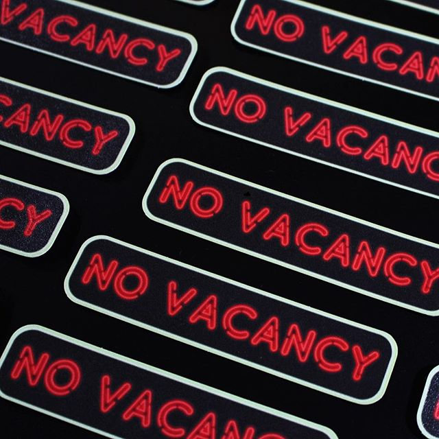 "❗️ No Vacancy ❗️ . We are digging these ""Neon"" Embossed Laminate stickies. . #nospaceissafe #spacevinyl #novacancy #stickers #highquality #heysummer"