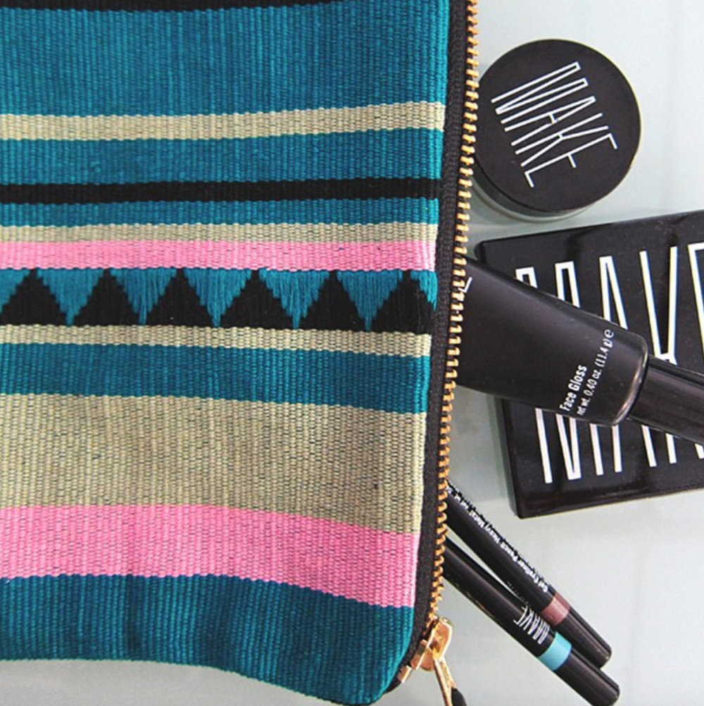 MAKE x Mercado - A collaboration linking rural Guatemalan artisans with immigrant Guatemalan workers in North Carolina at worker-owned cooperative, Opportunity Threads - woven in Guatemala, assembled in North Carolina for MAKE cosmetics, exclusively sold at Barney's New York.