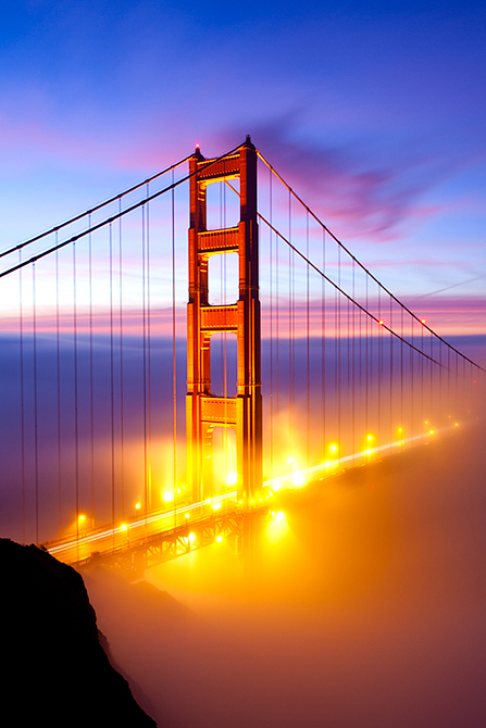THE GOLDEN GATE BRIDGE TOWER AT SUNRISE