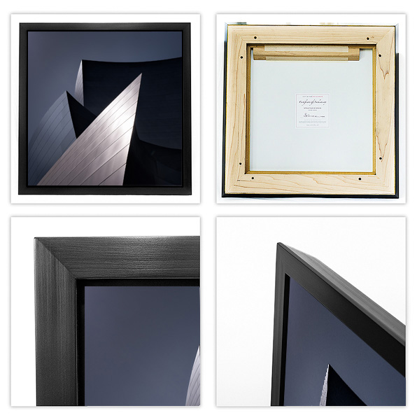 """MUSEUM WITH WOOD STYLE is presented with a custom-milled hard rock maple wood frame and black finish - a 1 1/4"""" face and 2"""" deep beveled sides with a 1/4"""" float."""