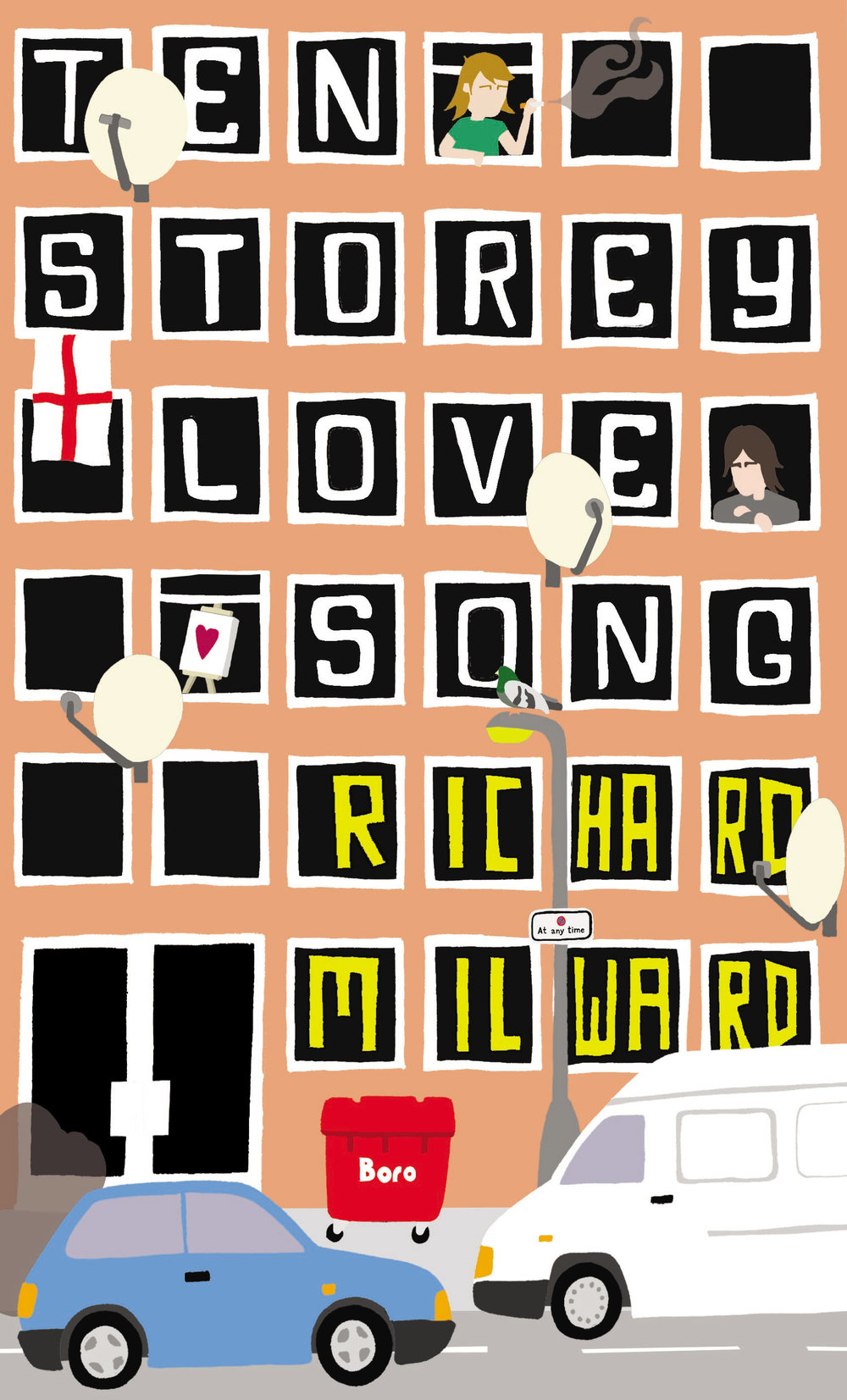 TEN STOREY LOVE SONG (2009, FABER & FABER)   Spanning one dynamite paragraph,  Ten Storey Love Song  follows Bobby the Artist's rise to stardom and horrific drug psychosis, Johnnie's attempts to stop thieving and start pleasing Ellen in bed, and Alan Blunt, a forty-year-old truck driver who spends a worrying amount of time patrolling the grounds of the local primary school. Bobby - the so-called 'love-child of Keith Haring and Jean-Michel Basquiat', holed up in a Middlesbrough tower block - works on his canvases under the influence of pills-on-toast, acid-on-crackers and Francis Bacon. When Bent Lewis, a famous art dealer and mover-shaker from that London appears, Bobby and friends are sent on a sweaty adventure of self-discovery, hedonism and violence involving a 2.5cm-head curved claw hammer. A love song to a loveless Teesside,  Ten Storey Love Song  is a ferocious slab of concrete prose peppered with beauty and delivered with glorious abandon.
