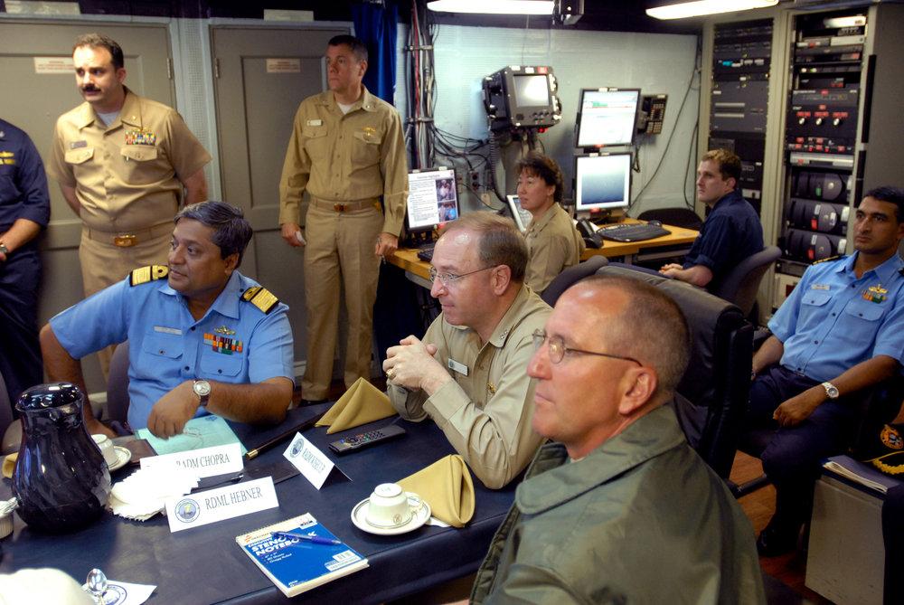 Debriefing on board  USS    Ronald Reagan    (CVN-76)
