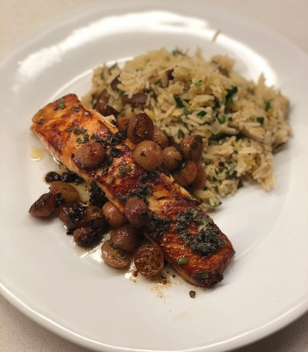 get this Pan Seared Salmon with Grapes and Sage, and my Mushroom and Leek Risotto by signing up for my Newsletter!