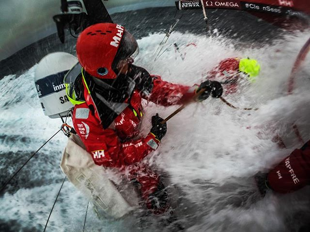 grit; firmness of character, indomitable spirit, toughness and resolution, unyielding courage in the face of hardship and danger.  The Southern Ocean requires true grit to navigate its icy, inhospitable, remote and beautifully mysterious waters. The crew on @desafiomapfre showed that day in and day out during Leg 03 of @volvooceanrace #truegrit @willyaltadill . . . #lifeattheextreme #southernocean #mapfre #sheexplores @hellyhansen #offshoresailing #volvooceanrace