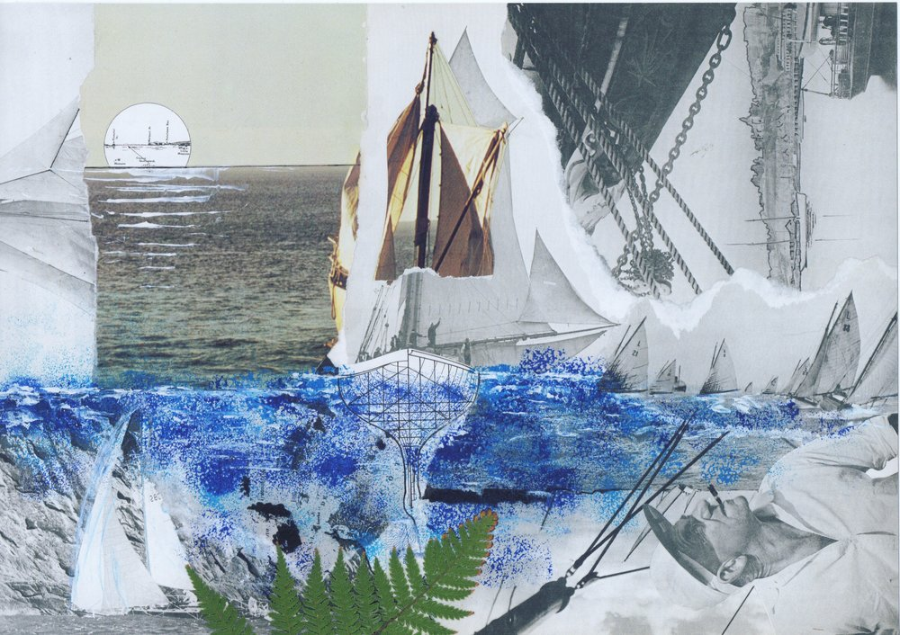 Fragments of the Sea collage artwork. Limited Edition