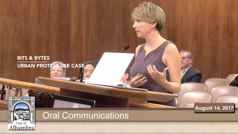Presenting Virtual Protestors at the Alhambra City Council meeting -