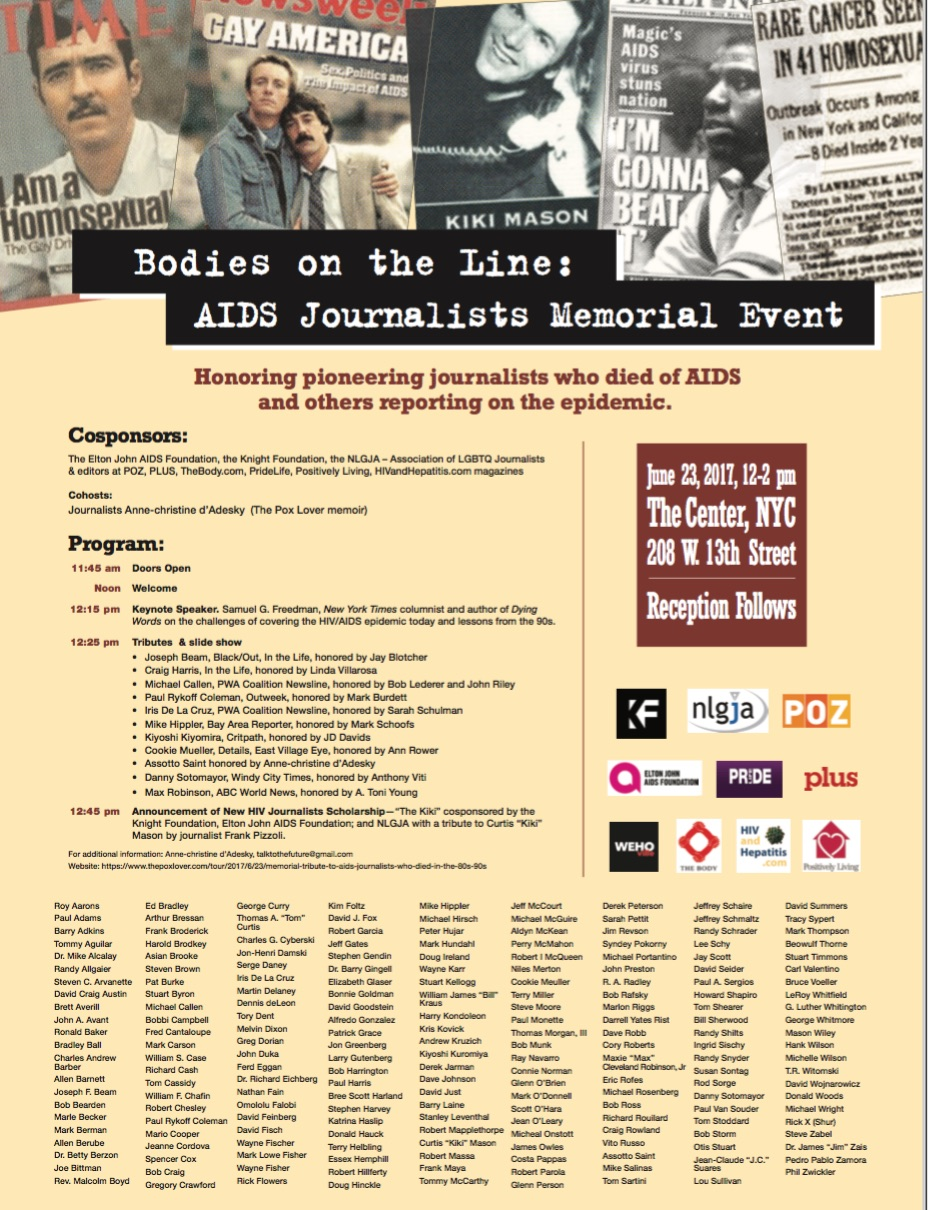 Poster from the Bodies on the Line Memorial Event announcing The Kiki Scholarship, June 23, 2017.