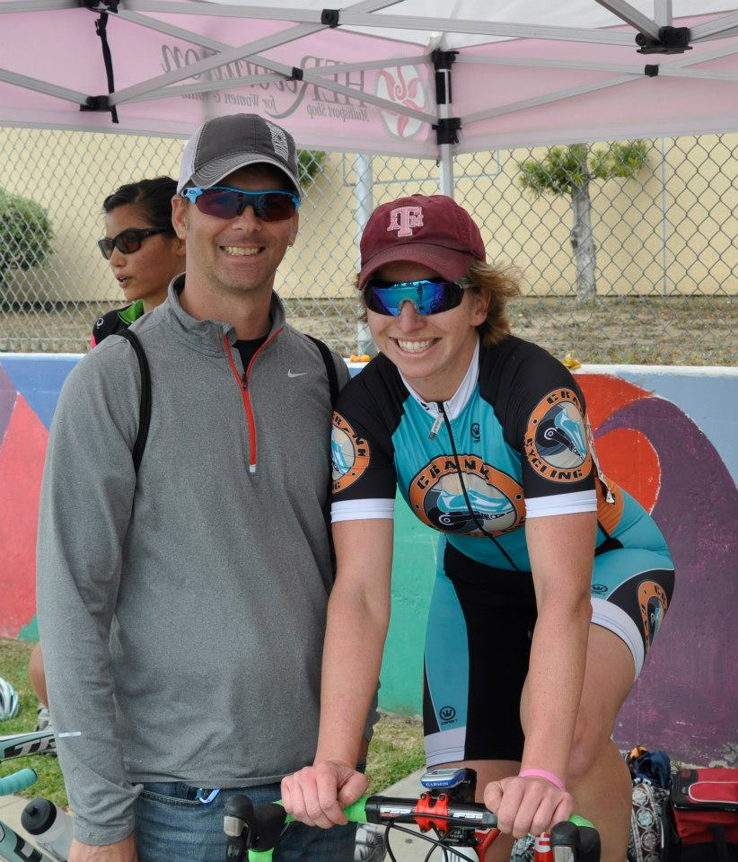 Jakcie with Coach Chris Before the Barrio Logan Criterium