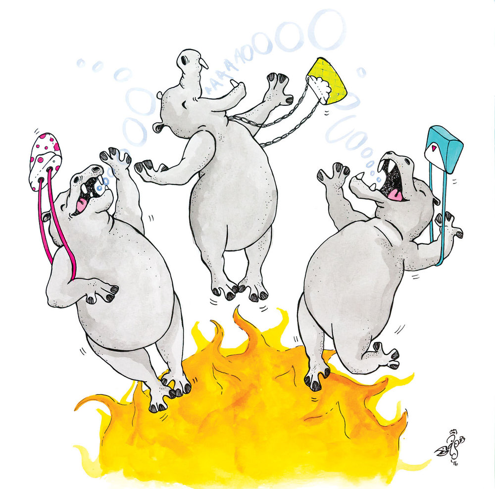 H is for Heliocentric howling hippos hover holding helium handbags