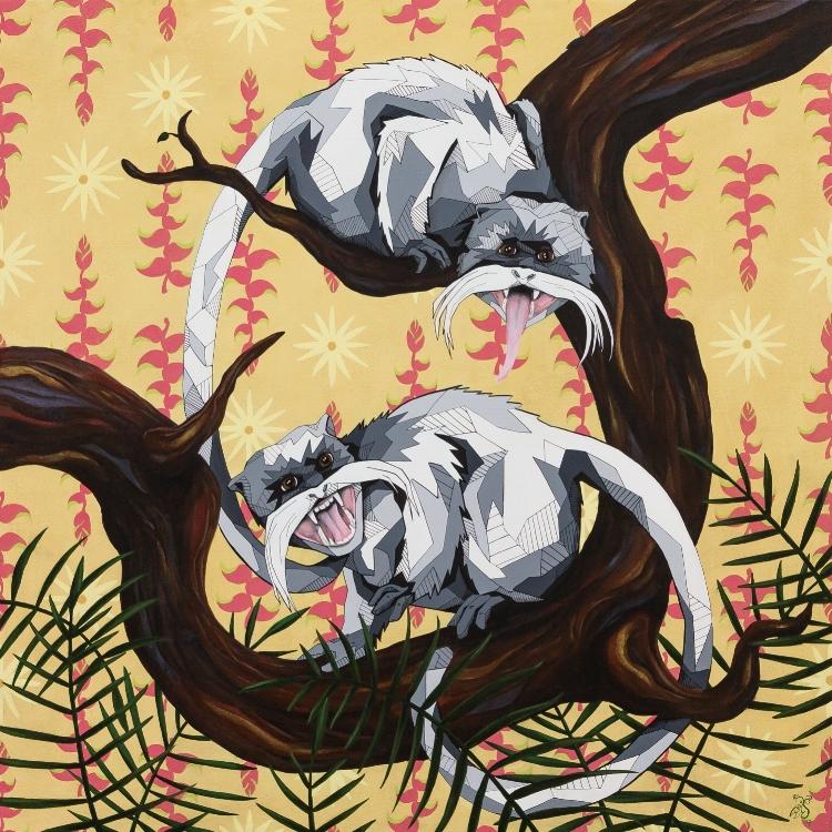 "Ephemera and Hope, 30x30"" acrylic on panel"