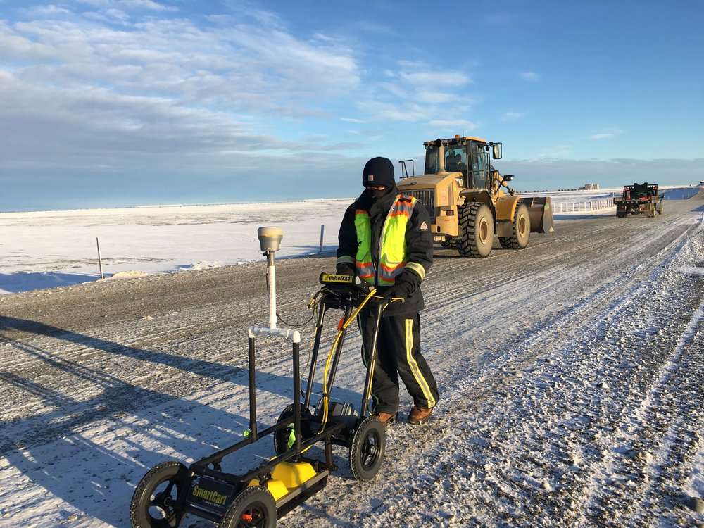 Collecting ground-penetrating-radar data in northern Alaska