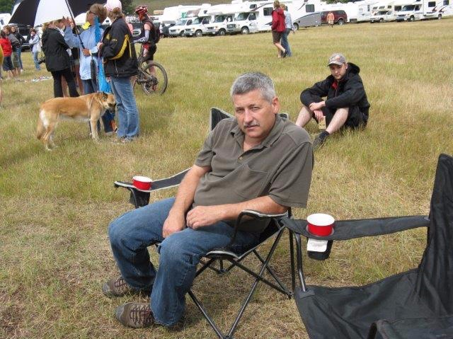 My dad waiting for Kevin to come in from a stage at his last Trans Rockies Classic race.