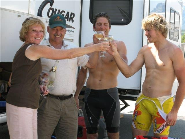 Kevin, his riding partner, and our parents celebrating a successful 2008 TRC completion.