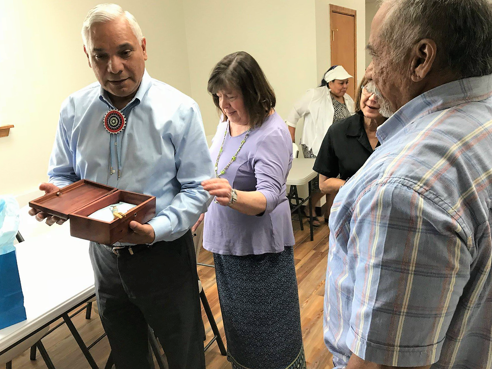 A special gift was presented to the Principle Chief of the Muscogee (Creek) Nation, James Floyed by Native Stone.