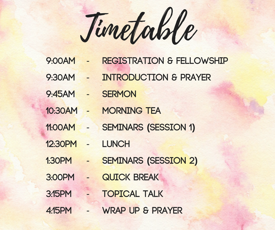 womens training conference timetable schedule