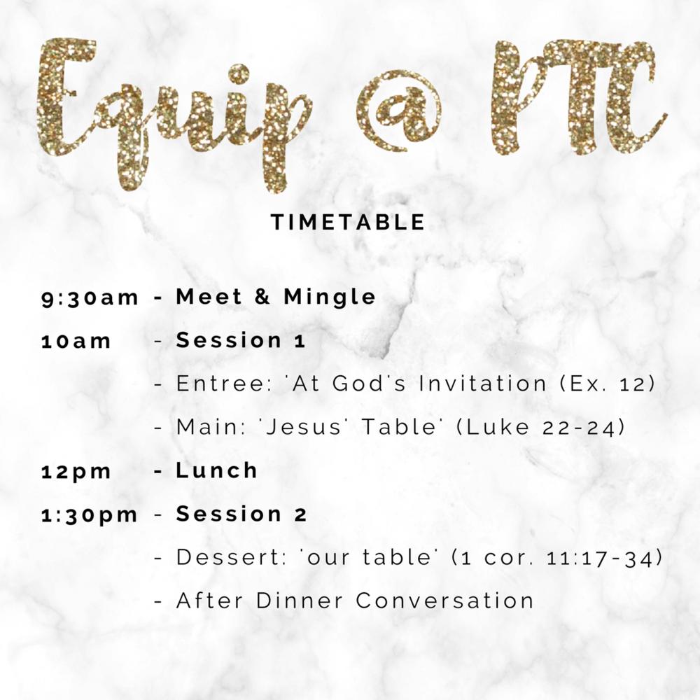 equip @ ptc timetable