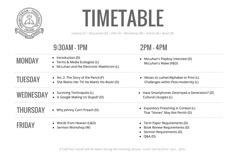 MA Intensive timetable