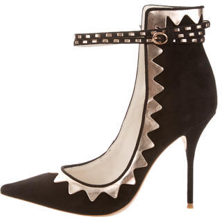 Women's Metallic Black and Rose Gold Accent Trim Riko Heels by Sophia Webster