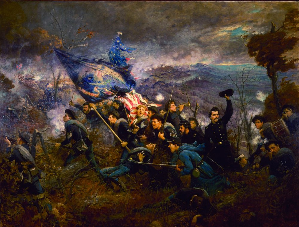 Courage. Doing the impossible with impeccable hair. 2nd Minnesota crushing Missionary Ridge, November 25, 1863.