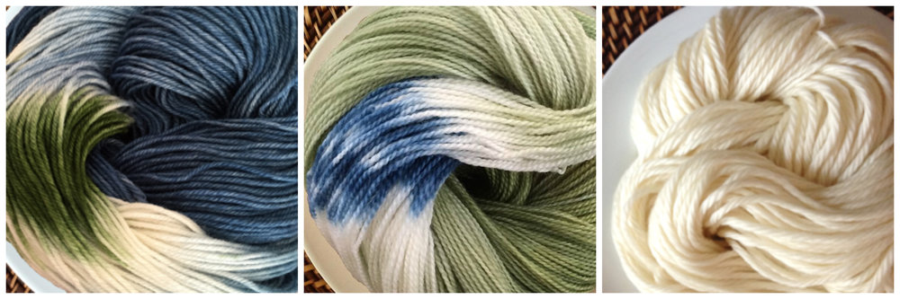 From left to right:  Sweets in Gumdrop ,  Sweets in Green Tea , and  Frosting in Vanilla .  Playing around with the amount of blues and greens in the first two skeins allows for the sea glass tones to move into the simplicity of a warm white. This is an especially great color combination for anyone with blue or green eyes!