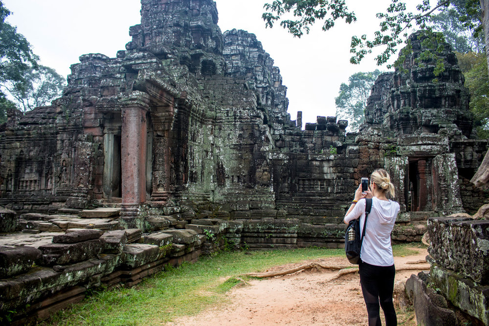 Anne Shoots on Mobile at Banteay Kdei Temple