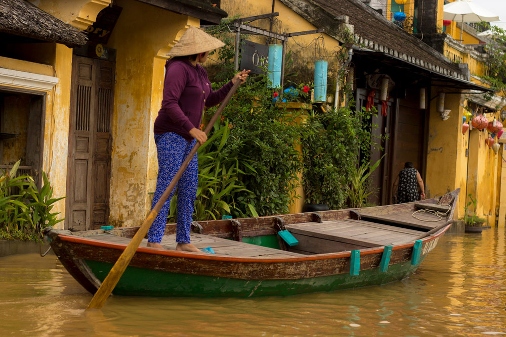 Hoi An Old Town Traditional Boat On Street Flood