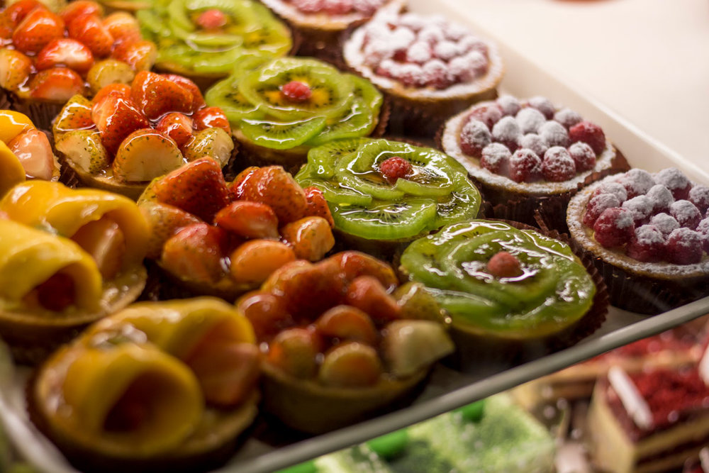 Fruit tarts on display