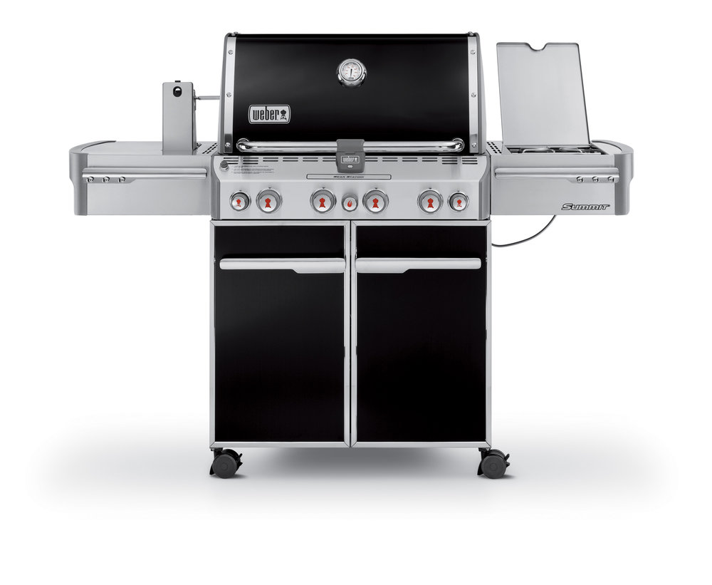 WEBER SUMMIT E470 PREMIUM    $4,299 LPG/NG (includes delivery & assembly)   The first time you set eyes on a Summit barbecue, you know it's something very special: it has such a commanding appearance. Its brilliant styling and superb finish make ordinary gas barbecues look exactly that: ordinary. Some people can feel it when they see commercial quality, and that's the feeling you get when you lift the hood on one of our Summit barbecues. These barbecues really have everything, from the amazing cooking system to the TuckAway™ rotisserie motor and light-up control knobs. If you had your own barbecue chef, this would be the barbecue he would choose.