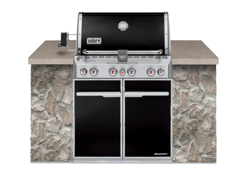 WEBER SUMMIT E460 PREMIUM BUILT IN    $4,399 LPG/NG (includes delivery & assembly)   The Weber Summit E-460 Built In A large, built in, four burner barbecue with a smoker box with its own individual burner, a sear station and a rotisserie with infrared burner. Available in black porcelain enamel.