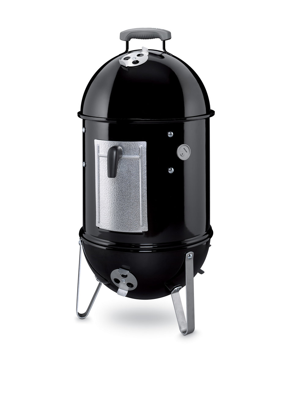 WEBER 37cm SMOKEY MOUNTAIN COOKER $399   If you want to get serious about smoking, you'll love Weber's Smokey Mountain Cooker. Inside, a porcelain enamelled water pan generates steam to keep the cooking temperature low and even. As a result, the foods are tender, succulent and moist. Smouldering smoke combines with the steam and filters up through the double racks, encircling hams, fish, poultry or sausage to produce beautiful flavours. The Smokey Mountain Cooker is perfect for homemade bacon. The smoker is made from heavy gauge steel sealed in porcelain enamel that won't peel, stain or burn. The cookbook includes an easy reference smoker cooking chart and all the information you need to get you started. Also included with the Smokey Mountain Cooker is a premium quality vinyl cover.